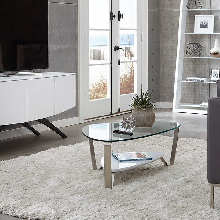 The Dino Table by BDI elegant triangle design