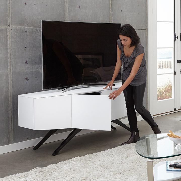 The Venue Media Storage Cabinet in white unique home entertainment center