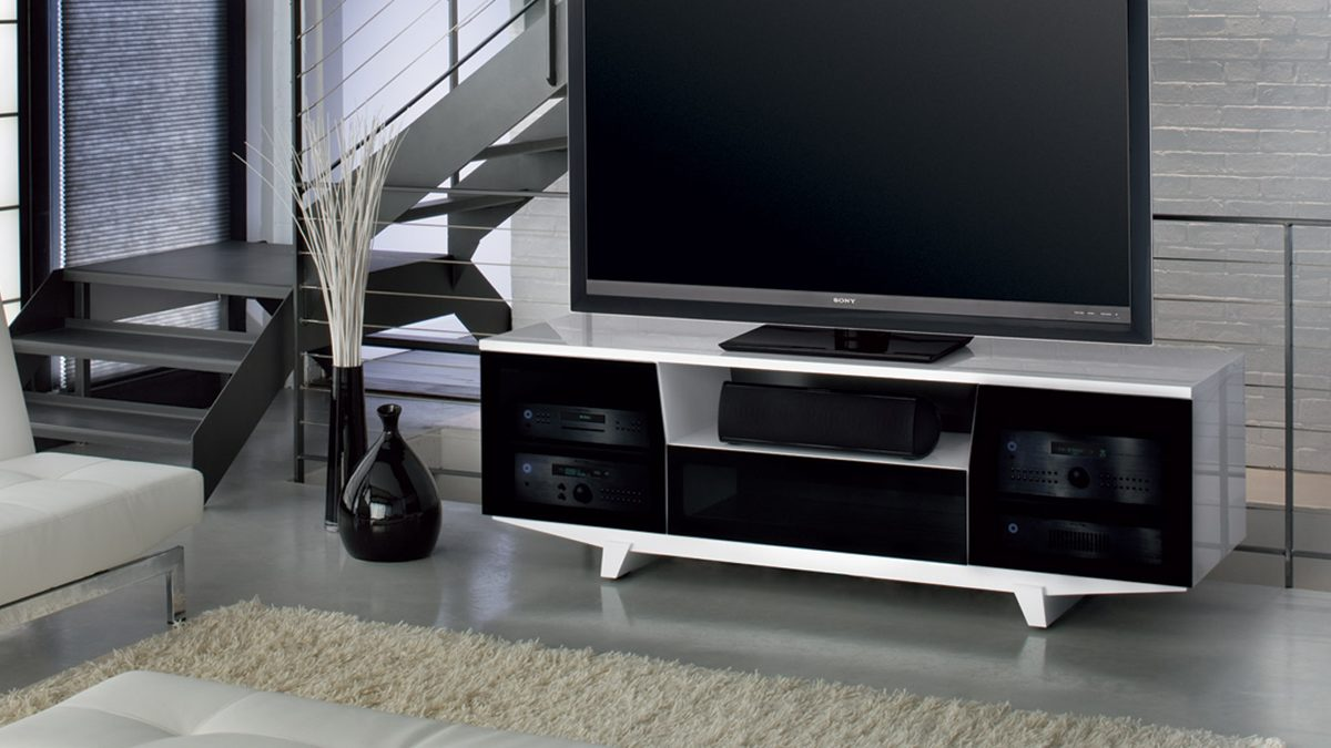 The Marina Collection featuring the sleek Marina Media Cabinet with integrated storage