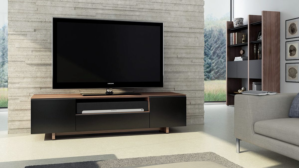 The Nora Media Cabinet by BDI sophisticated home entertainment center featuring soundbar shelf