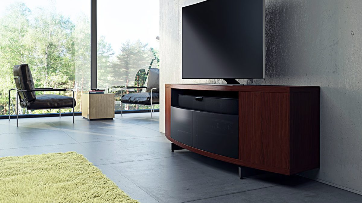 The modern Sweep Collection by BDI media console with unique curved design