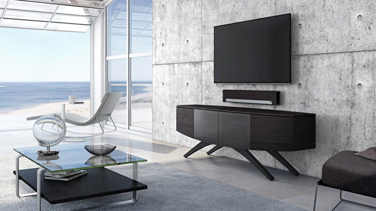 The BDI Venue Media Cabinet unique remote friendly design with ample storage compartments
