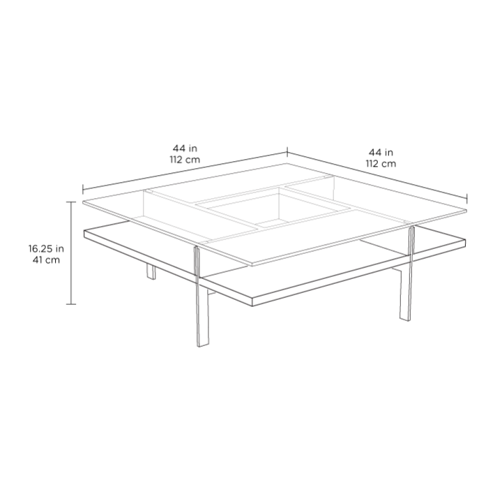 Radius Taupe Square Modern Coffee Table By Bdi: Terrace Square Coffee Table 1150