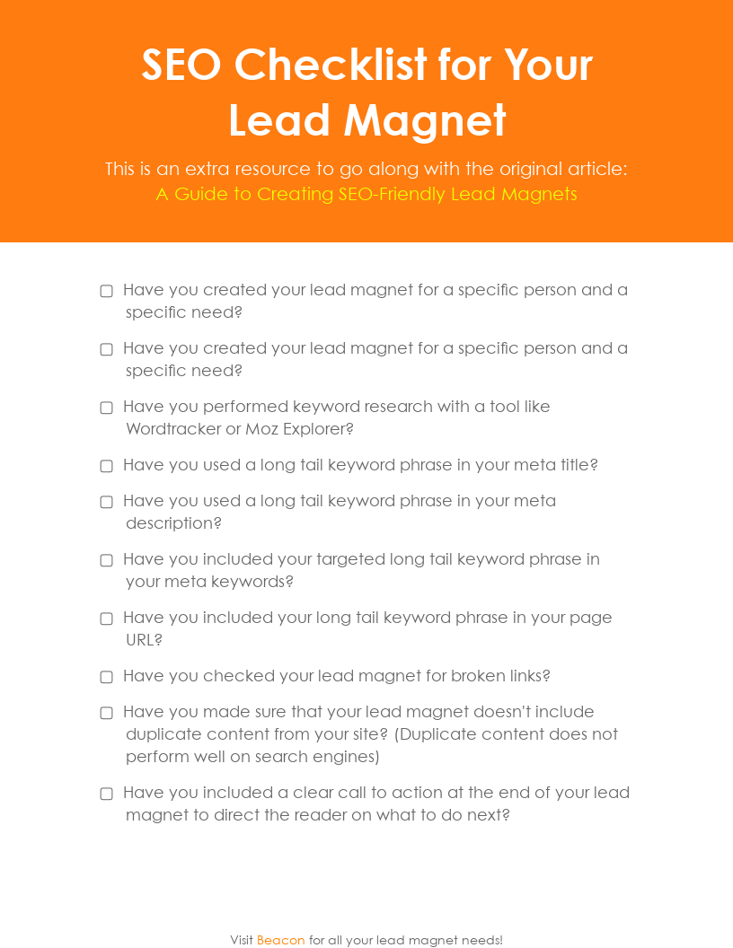 SEO Checklist for Your Lead Magnet