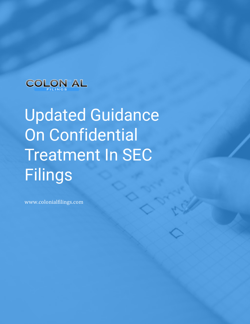 Guidance On Confidential Treatment In SEC Filings