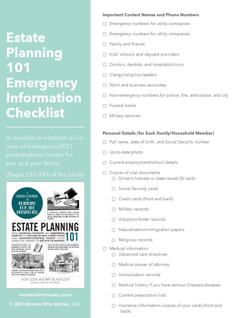 Resource - Estate Planning 101 Emergency Binder Checklist
