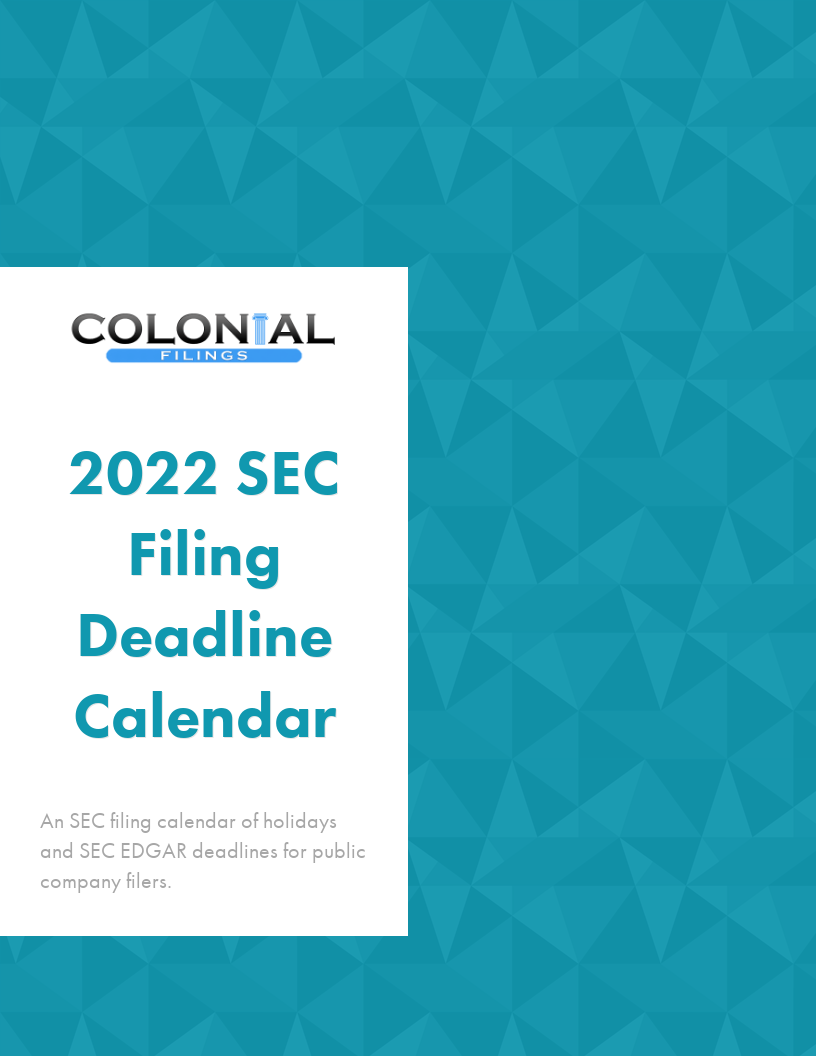 SEC Filing Deadline Calendar