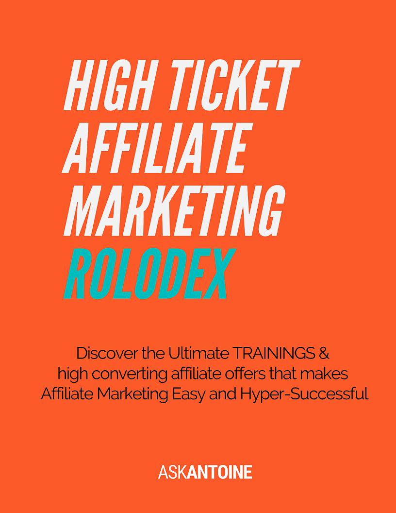 High Ticket Affiliate Marketing Rolodex