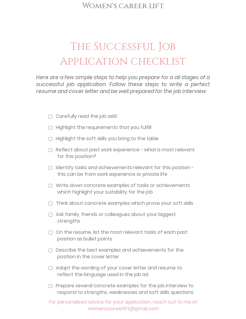 Women\'s career lift | Checklist for your successful job ...