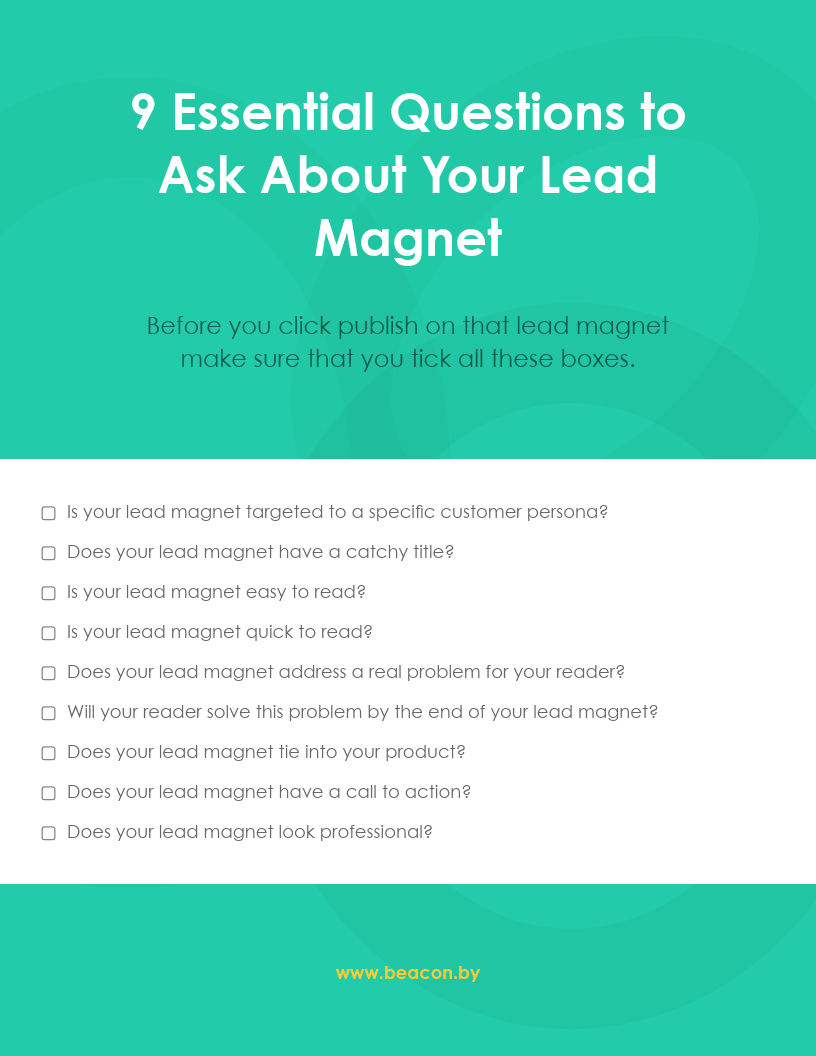 9 Essential Questions to Ask About  Your Lead Magnet