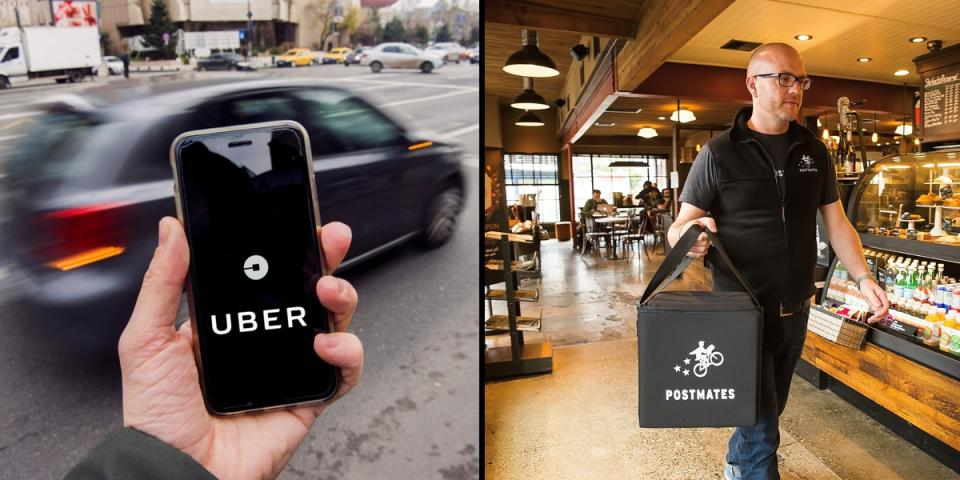 Uber buys Postmates, a food delivery startup.