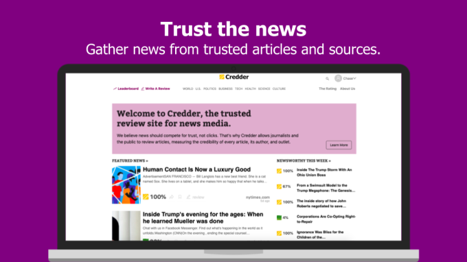 Credder offers Rotten Tomatoes-style ratings for the news | BEAM