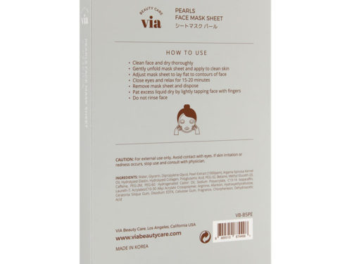 Via Beauty Care Pearls Face Mask Sheet Purifying