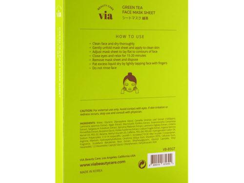 Via Beauty Care Green Tea Face Mask Sheet Purifying