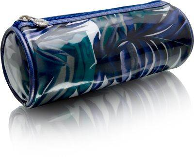 Cris Notti Blue Bamboo Cylinder Cosmetic Bag