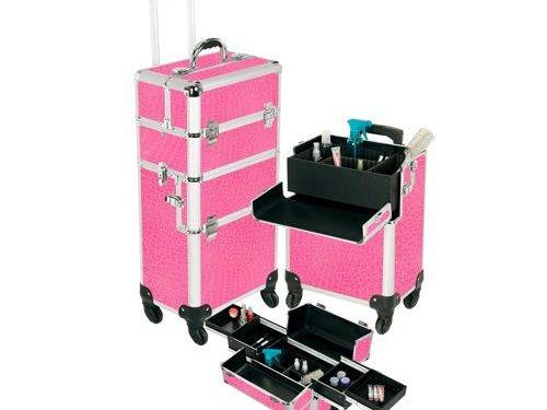 Pro Aluminum Makeup Case Pink 4 Wheeled Spinner