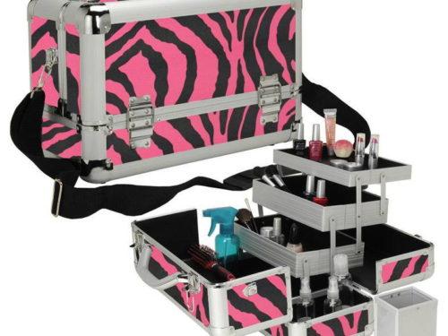 Pink Zebra Makeup Case