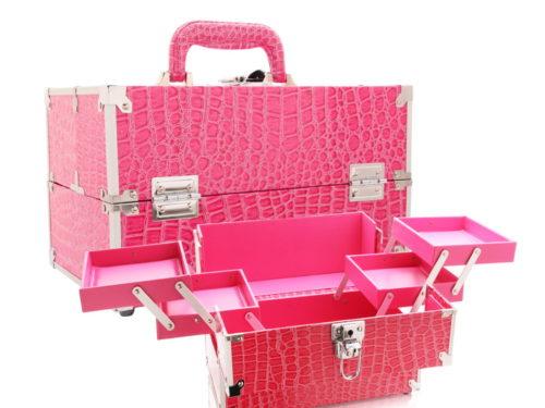 Seya Pink Alligator Skin Train Case