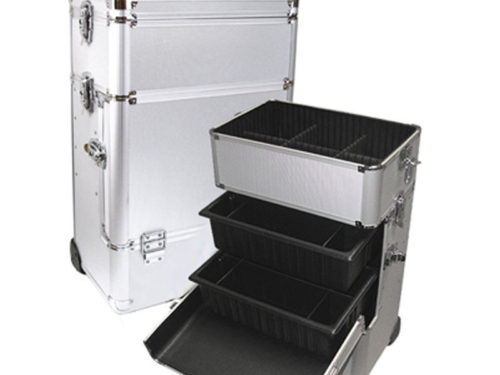 Silver Professional Rolling Makeup Case with Trays