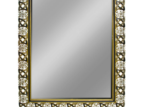 Jeweled Mirror (Black and Gray with Clear Rhinestones)