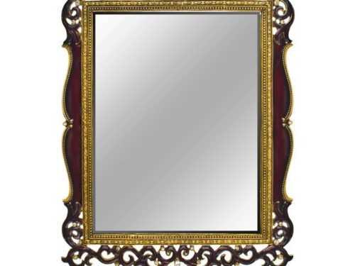 Jeweled Mirror (Burgundy Flourishes with Clear Rhinestones)