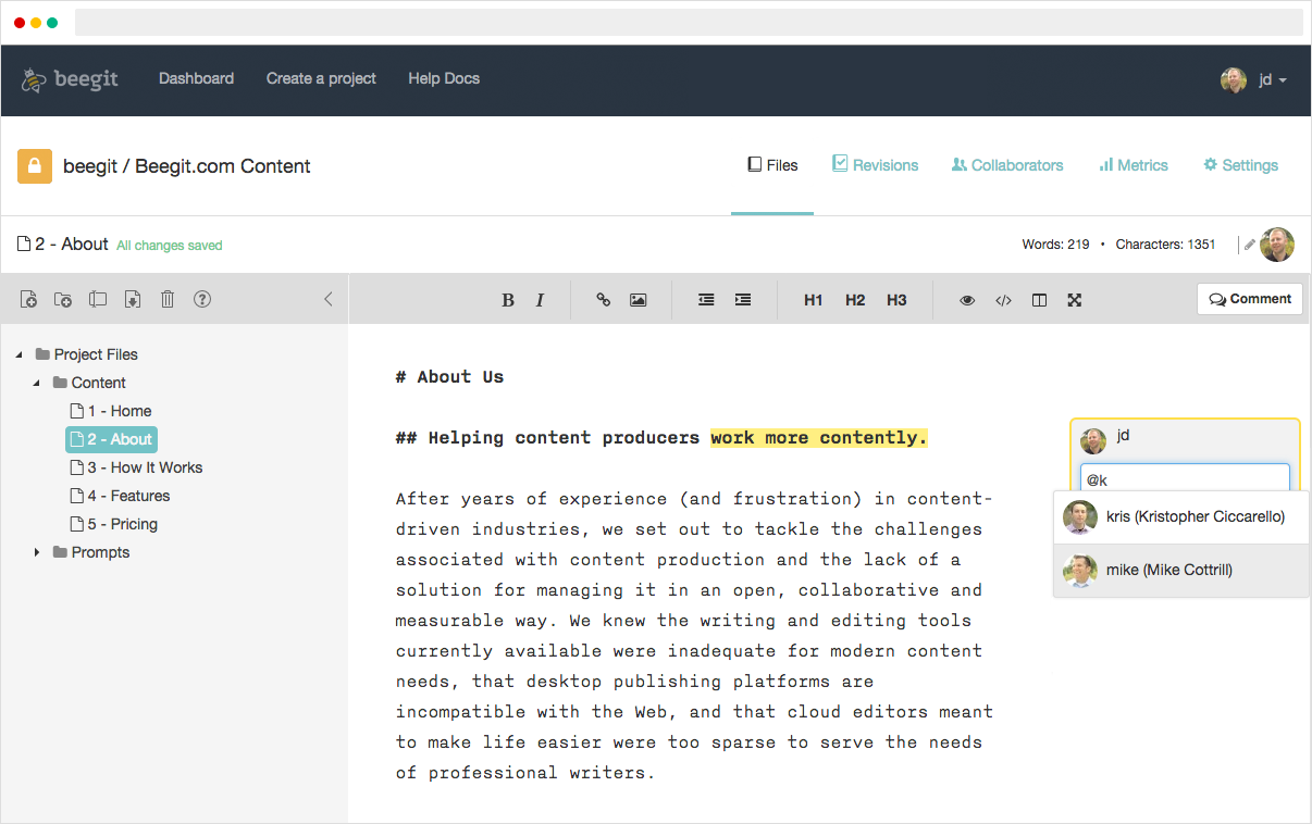 Editor Comment Mention