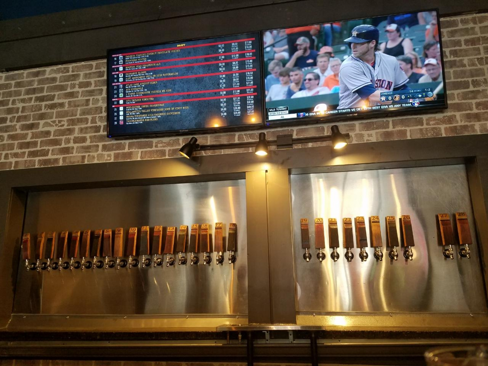 Taps and e-Tap List behind bar