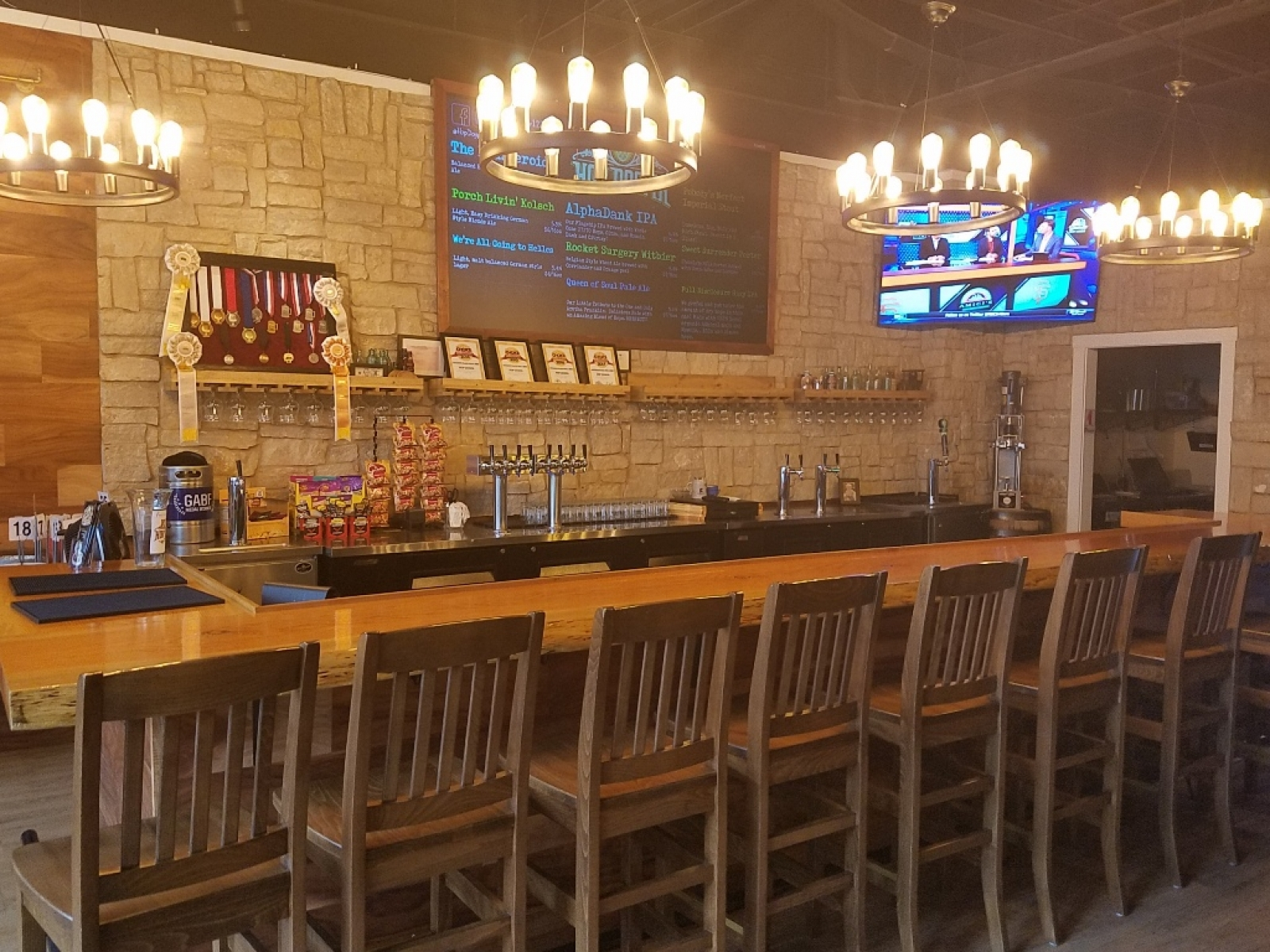Taps and bar area