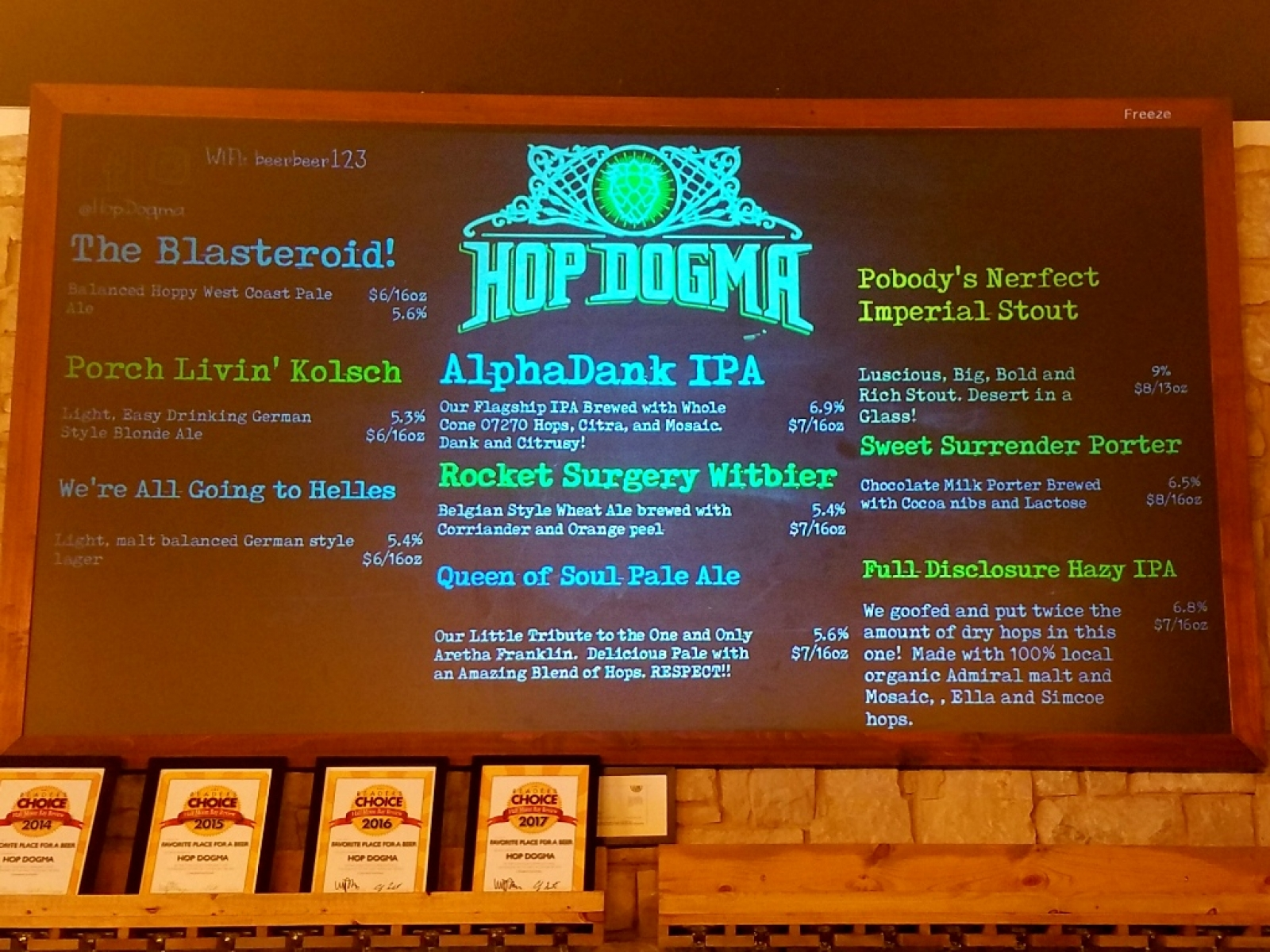 Electronic tap list