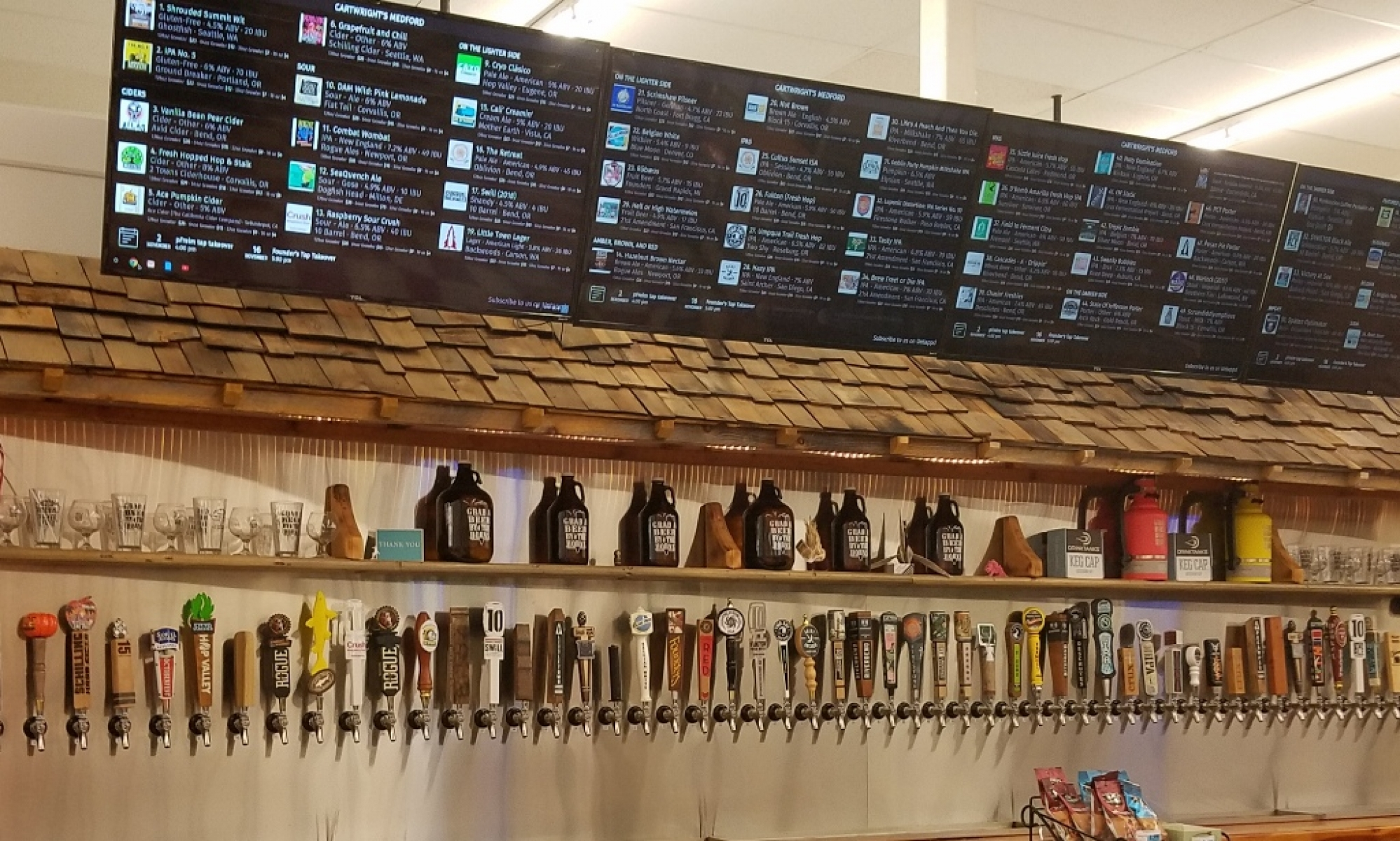 Most of the taps behind bar