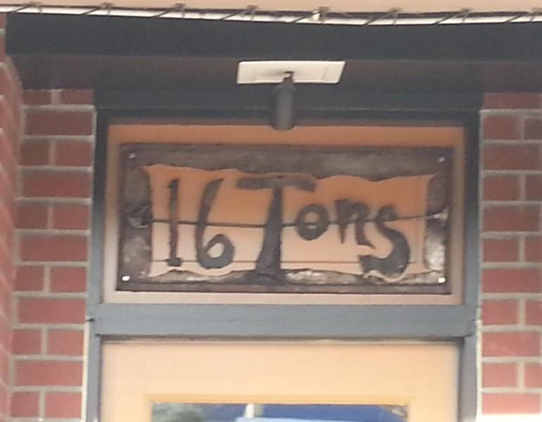 Transom sign above door