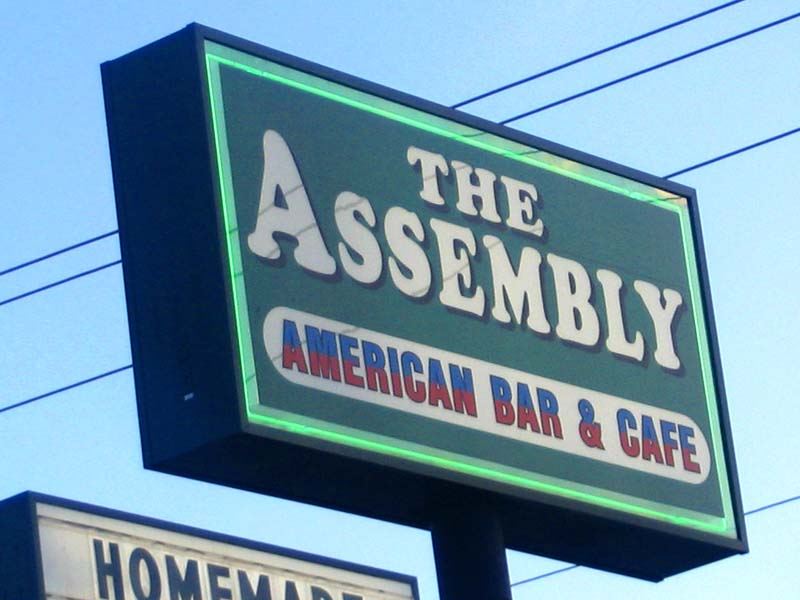 The Assembly Sign Out Front
