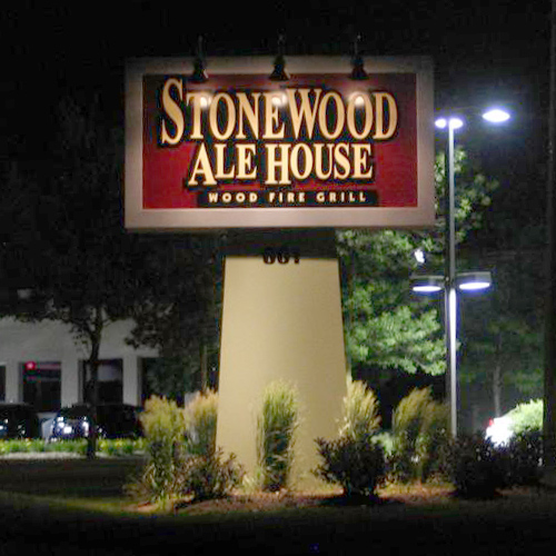 Large sign outside the stonewood ale house