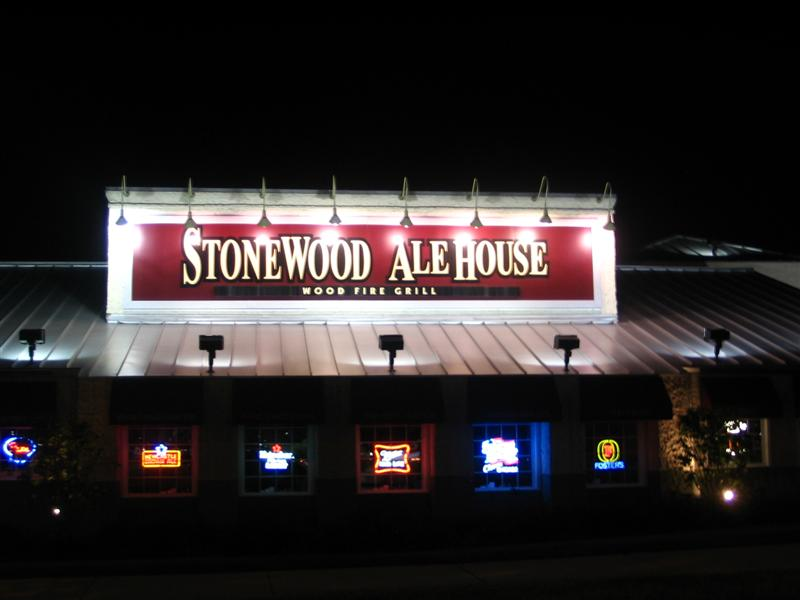 Lighted sign in front of the stonewood ale house in shaumburg
