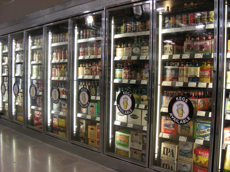Beer cooler doors