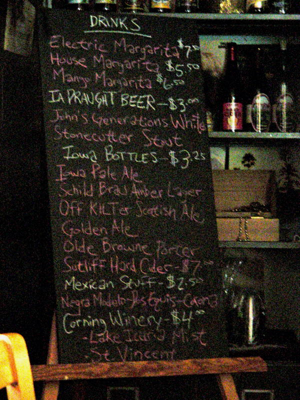 Drink List over by the safe