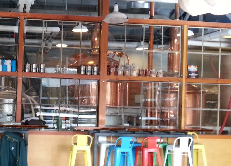 Brew Room through glass