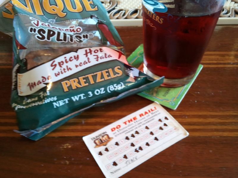 beer, spicy pretzels, and a rail card