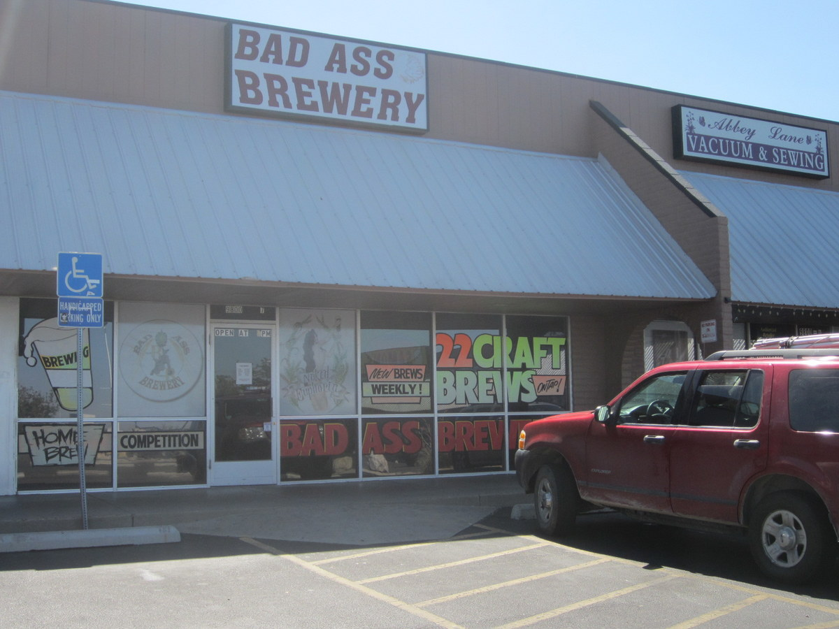 front view of brewery, note 22 brews
