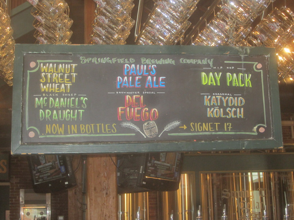 beer list, also a tap handle just for hoppy beers