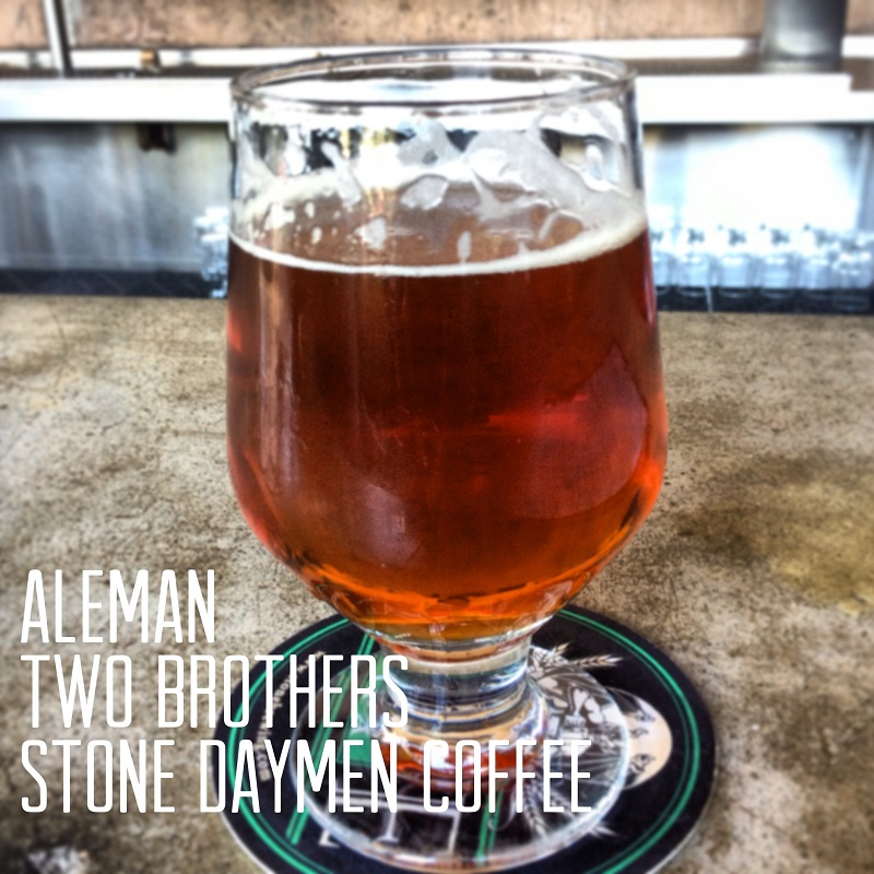 Aleman Two Brothers/Stone/Daymen Coffee IPA on bar