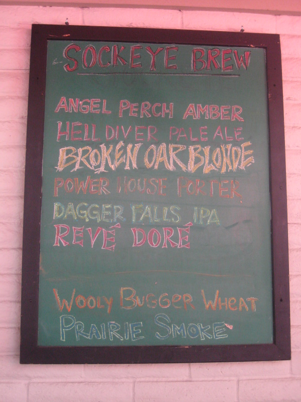 Beer list, note pink ie sockeye
