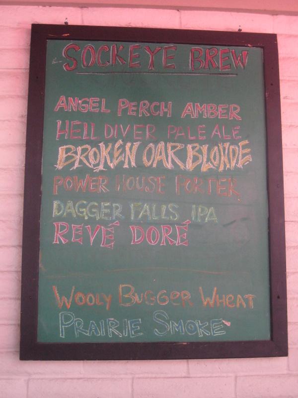Beer list, note pink ie sockeye