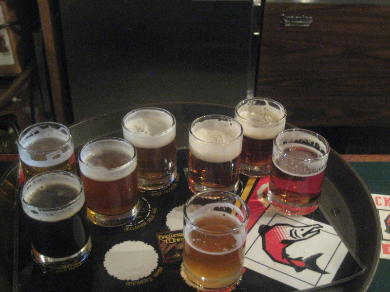 A better look at the 8 beers in the sampler.  Note the variation between the beers
