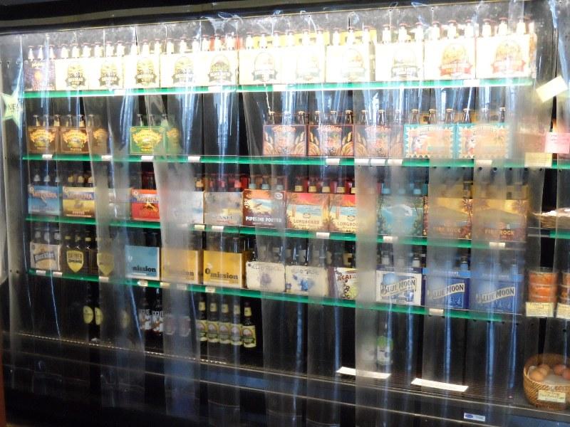 Cooler beer shelves