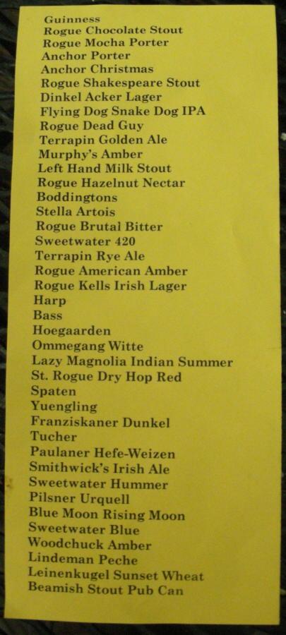 Tap List - 04/08