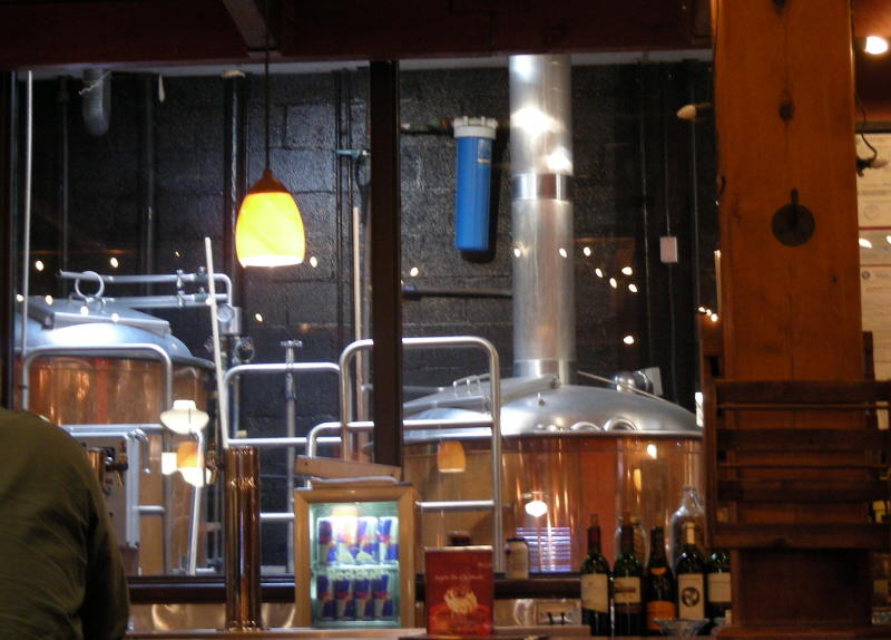 Brew kettles behind the bar