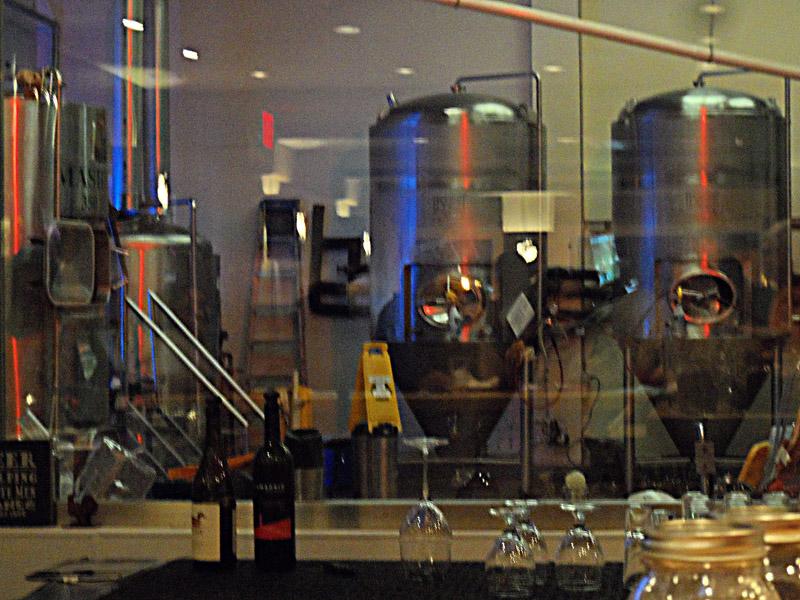 Lighted Brew Room behind bar