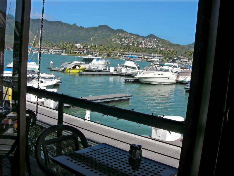 Tables overlook the marina