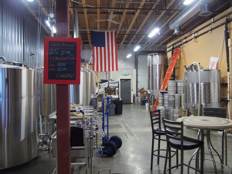 View of the brewery from the tasting room